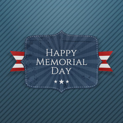 Happy Memorial Day festive Sign with Ribbon