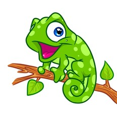 Cheerful chameleon tree branch cartoon illustration isolated image animal character
