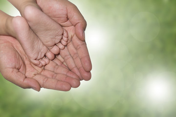 fathers hand holding babies little feet