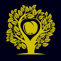 Vector illustration of tree with branches in the shape of heart