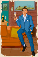 Retro man with champagne glass
