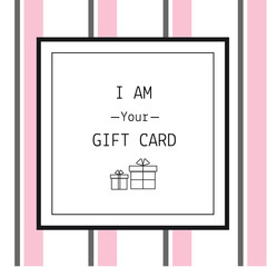 Gift card design template with line icons