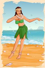 Retro woman dancing in Hawaiian dress