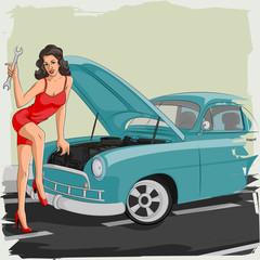 Retro woman fixing car in garage