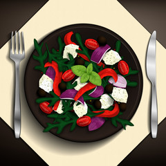 Greek salad with tomatoes, feta cheese, olives, red onion, peppers, basil, and arugula on brown plate. Vector illustration.