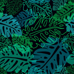 dark pattern with neon palm leaves