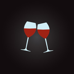 Two glasses of wine. Concept of cheers icon. Colorful vector illustration.
