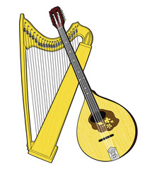 Irish National Musical Instruments. Celtic Harp and Irish Bouzouki