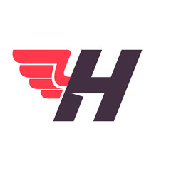 H letter with wing logo design template.