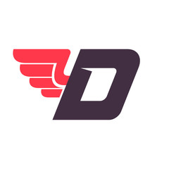 D letter with wing logo design template.