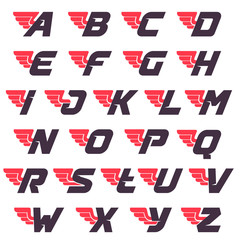 Winged alphabet logos design template.