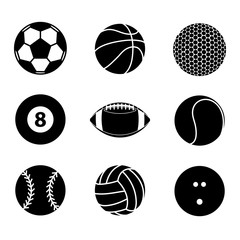 Collection of sport ball icon blank and white vector illustratio