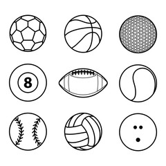 Collection of sport ball icon black outline vector illustration