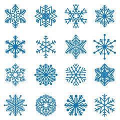 Snowflakes Blue snow icon set Winter holiday symbols isolated