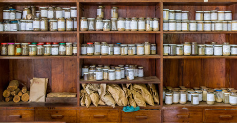 Jars with samples in an old lab