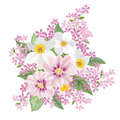 Flower bouquet isolated Floral frame Greeting card with blooming flowers