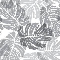 Floral pattern. Abstact vector seamless palm leaves texture Tropical background