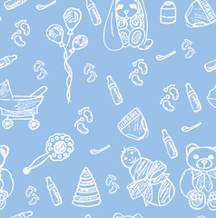 Seamless pattern with baby objects