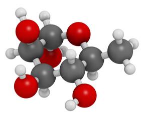 Rhamnose (L-rhamnose) deoxy sugar molecule. 3D rendering.