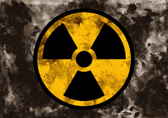 Symbol of radioactivit and radiation on dark grunge background. Dirty rough style and scratched material of post-apocalyptic time