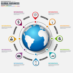 Infographic global business vector design template