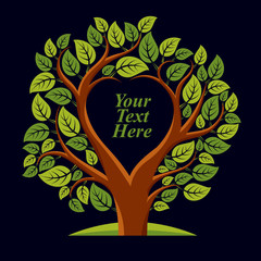 Vector illustration of tree with leaves and branches