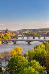 Aluminium Prints Prague View of the Vltava River and the bridges shined with the sunset sun, Prague, the Czech Republic