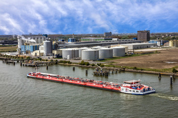 Rotterdam, Tanker port terminal and cargo ship, oil carrier