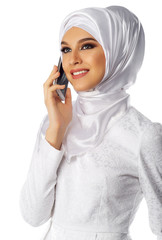 Muslim woman with phone