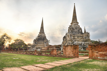 View of Wat Phra Sri Sanphet is located in Ayutthaya Historical Park (UNESCO World Heritage Site), Thailand