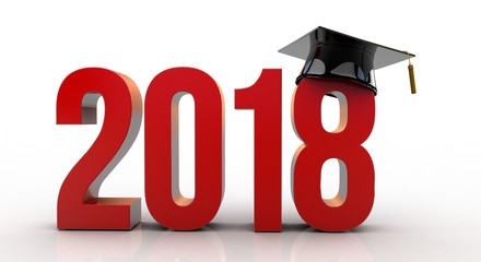 3D illustration of 2018 text with graduation hat