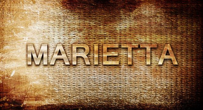 marietta, 3D rendering, text on a metal background