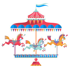 Vintage carousel with colorful horses on a white background.