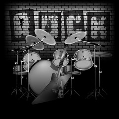 drum set with electric guitar rock and brick wall