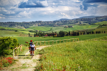 Mountain bikers on touristic trail in Tuscany (Italy) Wall mural