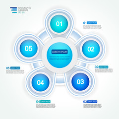 5 step options cycle process diagram. Infographic vector template for reports, plans,presentation,web.