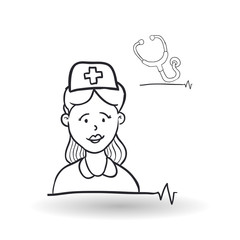 Medical care design. health care icon. sketch illustration