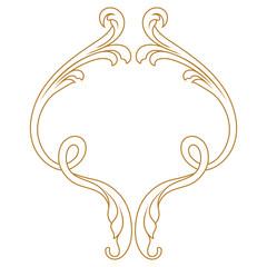 Golden vintage baroque frame scroll ornament. Vector.