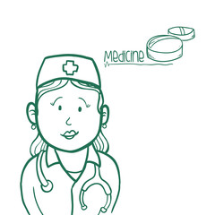medical care design. nurse icon. flat illustration