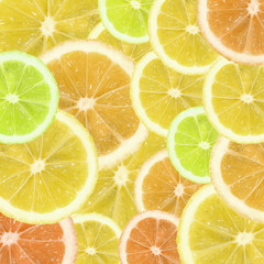 A slices of lemon, orange and lime texture