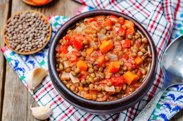 Vegan green lentil tomatoes stew
