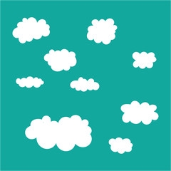Cloud icons set on blue sky background.