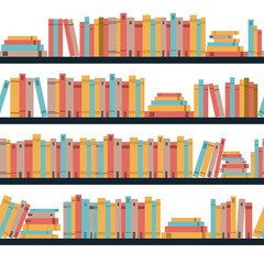 Seamless books, seamless pattern with books, library bookshelf, library, bookstore, books on a shelves in library, flat books, seamless pattern book shelf with books