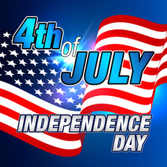 4th of July. Fourth of July Banner. Independence Day. Happy 4th of July Poster. 4th of July Vector Card or Banner with USA Flag.