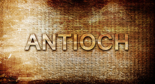 antioch, 3D rendering, text on a metal background