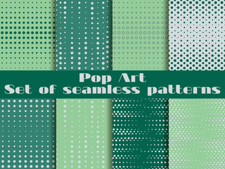 Dotted, Pop Art seamless pattern. Background in pop art style. Set backgrounds pattern.