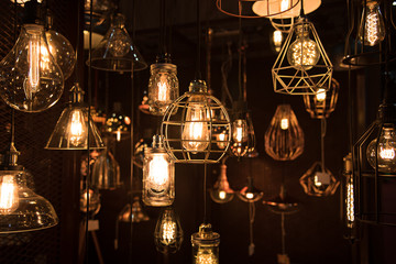 hanging light bulbs in the dark room