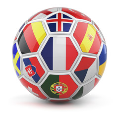 Soccer ball with flags of qualified nations teams for Euro 2016 and french flag in the front