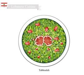 Tabbouleh or Lebanese Vegetarian Salad on White Background