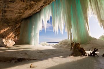 Sea Cave behind ice curtains at Grand Island on Lake Superior near Munising Michigan